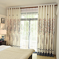cheap Curtains Drapes-Rod Pocket Grommet Top Tab Top Double Pleat Pencil Pleat Curtain Print Botanical Bedroom Material Curtains Drapes Home Decoration