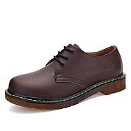 נשים נעלי אוקספורד נוחות מיקרופייבר PU סינתטי אביב סתיו קזו'אל שרוכים עקב שטוח שחור אדום חום כהה שטוח