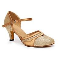 """billige Moderne sko-Dame Moderne Silke Sandaler Ytelse Spenne Kubansk hæl Gull Svart Lilla 2 """"- 2 3/4"""" Kan spesialtilpasses"""