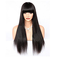Premier Brazilian Human Hair Lace Wigs Yaki Straight Glueless Lace Front Full Lace Wig With Bang For Women