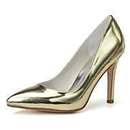 tanie Obuwie damskie-Damskie Obuwie Skóra patentowa Wiosna Lato formalne Buty Szpilki Szpilka Pointed Toe na Formalne spotkania Gold Silver