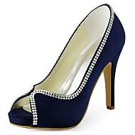 baratos Sapatos Femininos-Mulheres Sapatos Tecido elástico Primavera / Verão Plataforma Básica Saltos Salto Agulha Peep Toe Cristais Preto / Azul Escuro / Roxo Escuro / Casamento