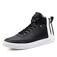 cheap Black High Tops-Men's Sneakers Comfort Spring Fall Real Leather Leather PU Casual Chain Lace-up Flat Heel White Black Flat