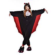 Voksne Kigurumi-pyjamas Flagermus Onesie-pyjamas Polarfleece Sort Cosplay Til Damer og Herrer Nattøj Med Dyr Tegneserie Halloween Festival / Højtider