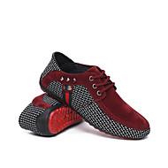 baratos Sapatos Masculinos-Homens Solas Claras Couro Ecológico Primavera / Outono Conforto Tênis Caminhada Preto / Vermelho / Azul