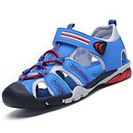 Boys' Sandals Mary Jane Summer Fabric Outdoor Lace-up Flat Heel Dark Blue Gray Sliver Royal Blue Flat