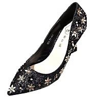 cheap Women's Heels-Women's Shoes PU Summer Basic Pump Heels Stiletto Heel Pointed Toe Flower for Dress Gold Black Silver
