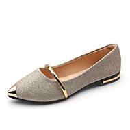 Damen Schuhe PU Sommer Leuchtende Sohlen Flache Schuhe Flacher Absatz Spitze Zehe Perle Gold / Schwarz / Silber