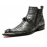 cheap Men's Oxfords-Men's Shoes Nappa Leather Winter Fall Bootie Fashion Boots Novelty Comfort Oxfords Booties/Ankle Boots Rivet Sparkling Glitter Zipper for