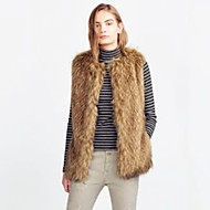 Women's Going out Casual/Daily Simple Fall Winter Vest,Solid Round Neck Sleeveless Regular Faux Fur Acrylic