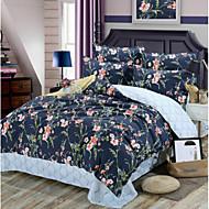 tanie Floral Duvet Okładki-Kwiaty 4 elementy Czysta bawełna Wydrukować Czysta bawełna 1szt kołdrę 2szt Shams 1szt Flat Sheet
