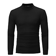 Bomull Tynn Rullekrage Store størrelser T-skjorte Herre - Ensfarget Grunnleggende Mørkegrå XL / Langermet / Høst