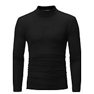Hombre Básico Tallas Grandes Algodón Camiseta, Cuello Alto Delgado Un Color Gris Oscuro XL / Manga Larga / Otoño