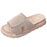 preiswerte -Damen Slippers & Flip-Flops Komfort Sommer Wildleder Walking Normal Flacher Absatz Schwarz Khaki 5 - 7 cm