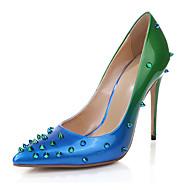 tanie Obuwie damskie-Damskie Obuwie Skóra patentowa Lato Jesień Szpilki Spacery Szpilka Pointed Toe Ćwiek na Green Niebieski