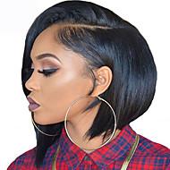 Syntetisk Lace Front Parykker Lige / Yaki Bob frisure Syntetisk hår Natural Hairline Brun Paryk Kort L-formet hætte