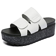 Women's Slippers & Flip-Flops Comfort Summer PU Walking Shoes Casual Creepers White Black 3in-3 3/4in