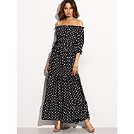 Women's Holiday Sheath Dress - Polka Dot Black High Rise Maxi Boat Neck
