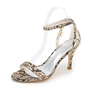 cheap Women's Shoes-Women's Shoes Leatherette Spring Summer Toe Ring Sandals Stiletto Heel Open Toe Animal Print for Dress Party & Evening White Black Purple