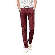 Homme Grandes Tailles Coton Mince Droite / Chino Pantalon - Couleur Pleine Bleu clair / Eté / Automne / Fin de semaine