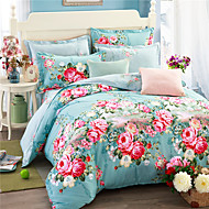 cheap Floral Duvet Covers-Duvet Cover Sets Floral Cotton Print 4 Piece