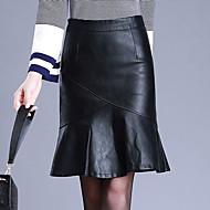 Dame Plusstørrelser Bodycon Nederdele Ensfarvet