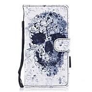 billiga Mobil cases & Skärmskydd-fodral Till Huawei P10 Lite Korthållare Plånbok med stativ Lucka Magnet Mönster Fodral Dödskalle Hårt PU läder för P10 Lite P8 Lite