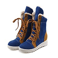 Women's Shoes Flocking Fall Winter Mary Jane Snow Boots Boots Flat Heel Round Toe Booties/Ankle Boots Lace-up For Casual Camel Blue Red