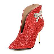 baratos Sapatos Femininos-Mulheres Sapatos Glitter / Paetês / Sintético Outono / Inverno Botas da Moda / Curta / Ankle Botas Salto Agulha Dedo Apontado Botas