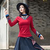 Feminino Camiseta Para Noite Casual Vintage Temática Asiática Primavera Outono,Sólido Floral Algodão Colarinho Chinês Manga Longa Média