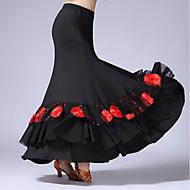 Latin Dans Underdele Dame Optræden Tyl Mælkefiber Plisseret 1 Stykke Naturlig Skjørter