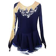 abordables Robe de Patinage-Robe de Patinage Artistique Femme / Fille Patinage Robes Bleu de minuit Spandex, Elasthanne Strass Haute élasticité Utilisation Tenue de