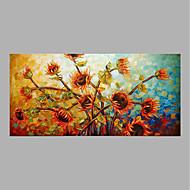 billiga Oljemålningar-Hang målad oljemålning HANDMÅLAD - Blommig / Botanisk Abstrakt Duk