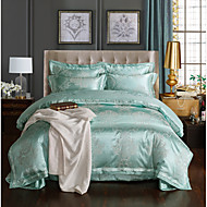 Duvet Cover Sets Geometric 4 Piece Polyester/Linen Blend Jacquard Polyester/Linen Blend 1pc Duvet Cover 2pcs Shams 1pc Flat Sheet