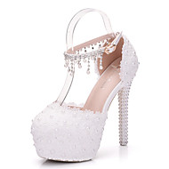 cheap Wedding Shoes-Women's Shoes PU Spring Fall Comfort Novelty Wedding Shoes Stiletto Heel Round Toe Pearl Appliques Hollow-out for Wedding Party & Evening