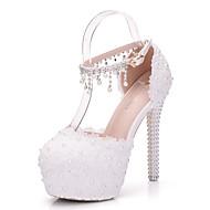 Dámské Boty PU Jaro Podzim Pohodlné Novinky Svatební obuv Vysoký Kulatý palec Aplikace Perličky Duté Pro Svatební Party Bílá