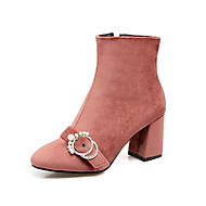 tanie Small Size Shoes-Damskie Obuwie Jedwab Zima Jesień Modne obuwie Kozaki na obcasie Comfort Zabawne Buciki Gruby obcas Pointed Toe Kozaczki / kozaki do