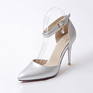 cheap Extended-Size Shoes-Women's Shoes PU Winter Fall Comfort Novelty Heels Stiletto Heel Pointed Toe Buckle for Dress Party & Evening Gold Black Silver