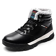 Men's Shoes Leatherette Fall Winter Snow Boots Boots Booties/Ankle Boots Lace-up For Outdoor Black Brown Blue