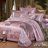 preiswerte Streu-Bettbezug-Sets Blumen 4 Stück Seide/Baumwolle Reaktivdruck Seide/Baumwolle 4-teilig (1 Bettbezug, 1 Bettlaken, 2 Kissenbezüge)