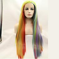 Kvinder Syntetiske parykker Blonde Front Lang Kinky Glat Regnbue Naturlig paryk kostume Parykker