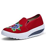 Femme Chaussures Toile Printemps Automne Confort Mocassins et Chaussons+D6148 Talon Compensé Bout rond Fleur Pour Décontracté Noir Bleu