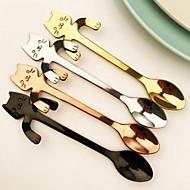 oțel inoxidabil agățat lingura de cafea cu mâner desen dragut de pisică