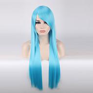 Szintetikus parókák Egyenes Kék Világoskék Szintetikus haj Női Kék Paróka Hosszú Sapka nélküli