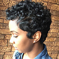 Women Human Hair Capless Wigs Black Short Curly Jheri Curl African American Wig For Black Women