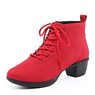 """נשים סניקרס לריקוד רשת נושמת נעלי ספורט חיצוני עקב קובני שחור אדום 5.5 ס""""מ"""