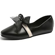 baratos Sapatos Femininos-Mulheres Sapatos Couro Ecológico Primavera / Verão Conforto Rasos Salto Baixo Ponta Redonda Colchete Preto / Bege