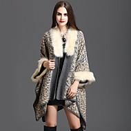 Mulher Acrílico Fibra Acrilica Tricô Primavera/Outono Inverno Retângular Quadrangular Cachecol Infinito,Leopardo