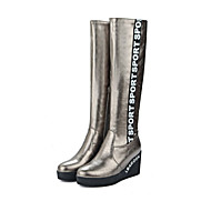 Damen Schuhe PU Herbst Winter Komfort Modische Stiefel Stiefel Keilabsatz Runde Zehe Reißverschluss Für Kleid Party & Festivität Weiß