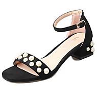 Feminino Sapatos Borracha Verão Conforto Sandálias Salto de bloco Presilha Para Preto Amarelo Vermelho